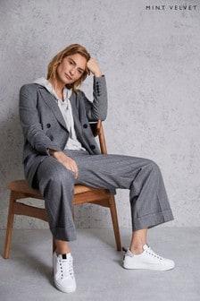 Mint Velvet Grey Herringbone Crop Trousers