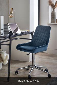 Opulent Velvet Dark Navy Hamilton Office Chair With Chrome Base