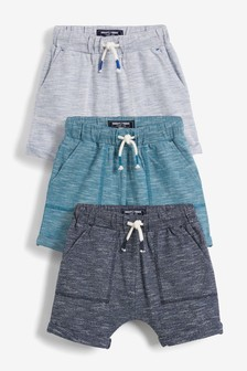 Blue/Navy 3 Pack Lightweight Textured Shorts (3mths-7yrs)