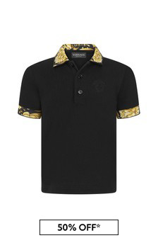 Versace Baby Boys Black Cotton Poloshirt
