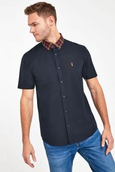 Navy Regular Fit Stretch Oxford Contrast Collar Shirt