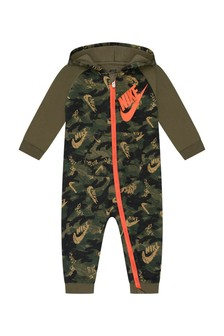 Nike Baby Boys Camouflage Cotton Blend Hooded Romper