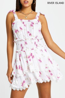 River Island White Floral Beach Dress With Shorts