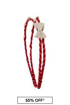 Girls Red Diamanté Headband
