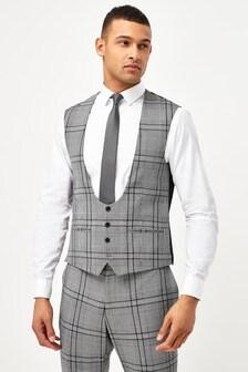 Grey Slim Fit Check Suit: Waistcoat