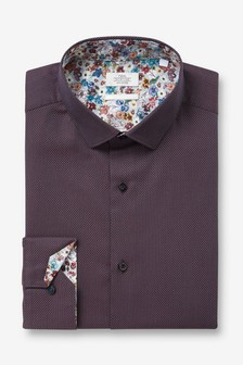 Burgundy Regular Fit Single Cuff Trimmed Detail Shirt
