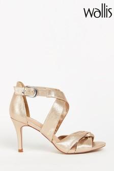 Wallis Gold Twist Vamp Cross Strap Sandals
