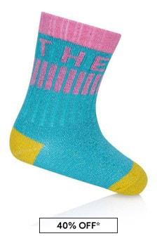 Girls Green Logo Socks