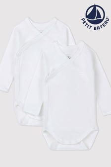 Petit Bateau White Iconic Rib Long Sleeve Bodysuits Two Pack