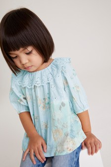 Blue Patchwork Frill Collar Blouse (3mths-7yrs)