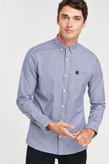 Navy/White Regular Fit Gingham Long Sleeve Stretch Oxford Shirt