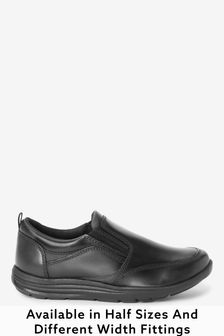 Black Narrow Fit (E) Leather Loafers