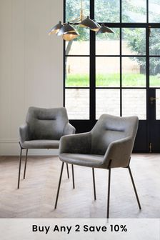 Monza Faux Leather Grey Set Of 2 Quinn Dining Chairs With Black Legs