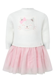 Baby Girls White/Pink Tulle Cat Dress