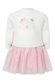 طفل الفتيات الأبيض / الوردي تول القط اللباس