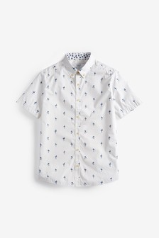 White Regular Fit Print Short Sleeve Shirt