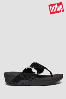 FitFlop™ Black Paisley Glitter Robe Toe Post Sandals