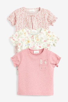 Pink 3 Pack Floral T-Shirts (0mths-3yrs)