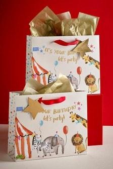 Set of 2 Circus Print Gift Bags