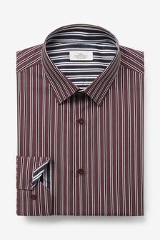 Burgundy Slim Fit Single Cuff Stripe Trimmed Shirt