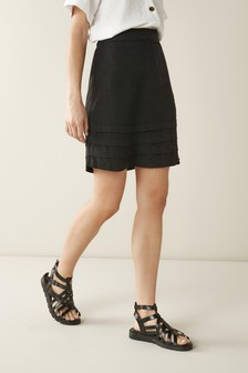 Black Linen Blend Mini Skirt