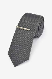 Dark Charcoal Textured Tie With Tie Clip