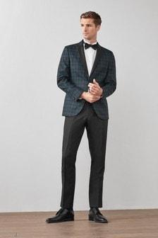 Blue/Green Joules Slim Fit Blackwatch Check Tuxedo Jacket