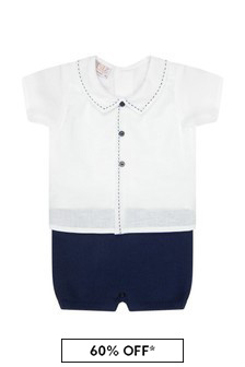Paz Rodriguez Baby Boys White Cotton Romper