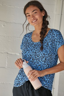 Blue Short Sleeve Slouch Sports Top