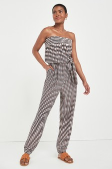 Red Geo Print Bandeau Jumpsuit
