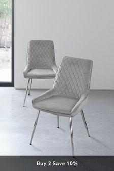 Opulent Velvet Light Grey Set of 2 Hamilton Dining Chairs With Chrome Legs
