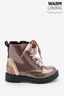 Rose Gold Pink Standard Fit (F) Warm Lined Lace-Up Boots