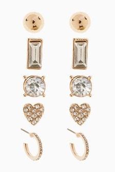 Gold Tone Sparkle Multipack Earrings
