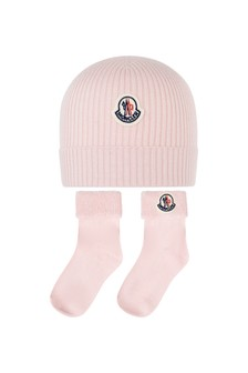 Girls Pink Cotton Hat And Socks Set