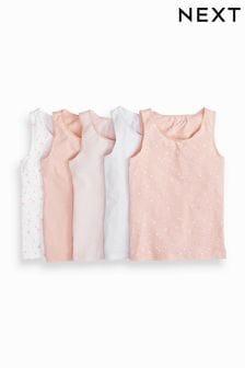 Pink/White 5 Pack Star/Stripe Print Vests (1.5-12yrs)