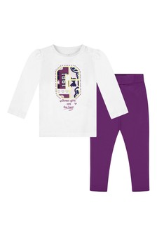 Baby Girls White Cotton Top & Jeggings Set