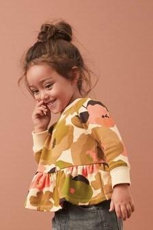 Tonal Floral Soft Touch Jersey Peplum Sweatshirt (3mths-7yrs)