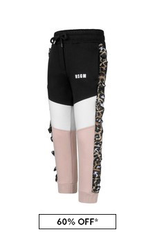 Girls Pink And Leopard Print Joggers