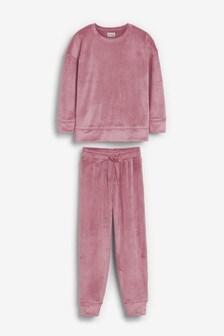 Pink Velour Jogger Set (3-16yrs)
