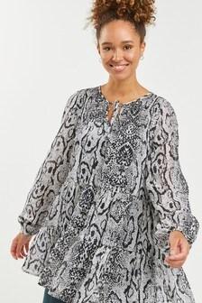 Leopard Print Tiered Tunic