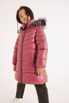 Pink Shower Resistant Faux-Fur Trim Long Padded Jacket (3-16yrs)