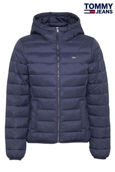 Tommy Jeans Blue Hooded Quilted Full Zip Jacket