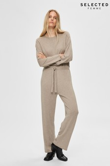 Selected Femme Beige Cashmere Mix Knitted Inka Jumpsuit