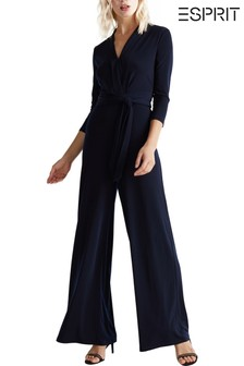 Esprit Blue Long Sleeve Flared Jumpsuit With Waistband And Collar