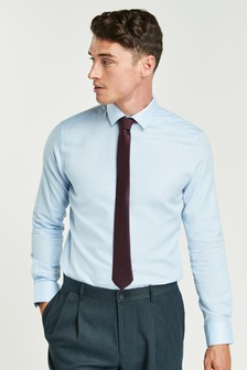 Blue Paisley Trimmed Shirt And Tie