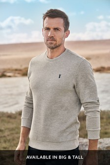 Grey Herringbone Long Sleeve Crew Neck Top