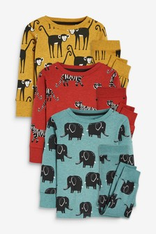 Multi 3 Pack Animal Snuggle Pyjamas (9mths-12yrs)