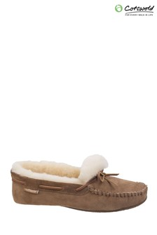 Cotswold Brown Chastleton Sheepskin Moccasin Slippers