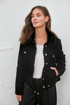 Black Faux Fur Lined Cord Jacket