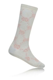 Baby Girls Light Blue Glittery GG Socks